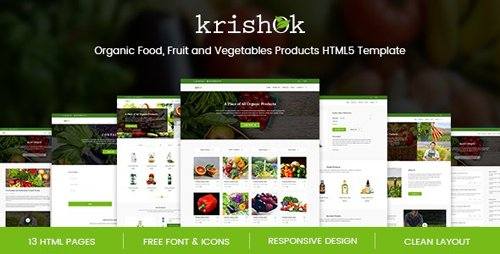 ThemeForest - Krishok v1.0 - Organic Food, Fruit and Vegetables Products HTML5 Template - 21116552
