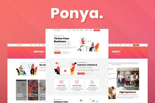 ThemeForest - Ponya v1.0 - Social Media Agency Template Kit - 28291654