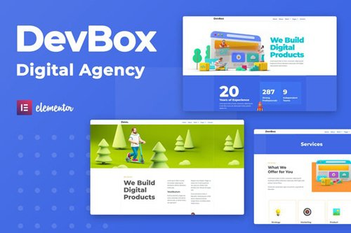 ThemeForest - DevBox v1.0 - Creative Digital Agency Elementor Template Kit - 28287319