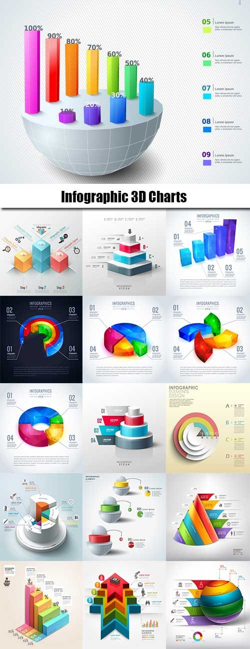 Infographic 3D Charts 25xEPS