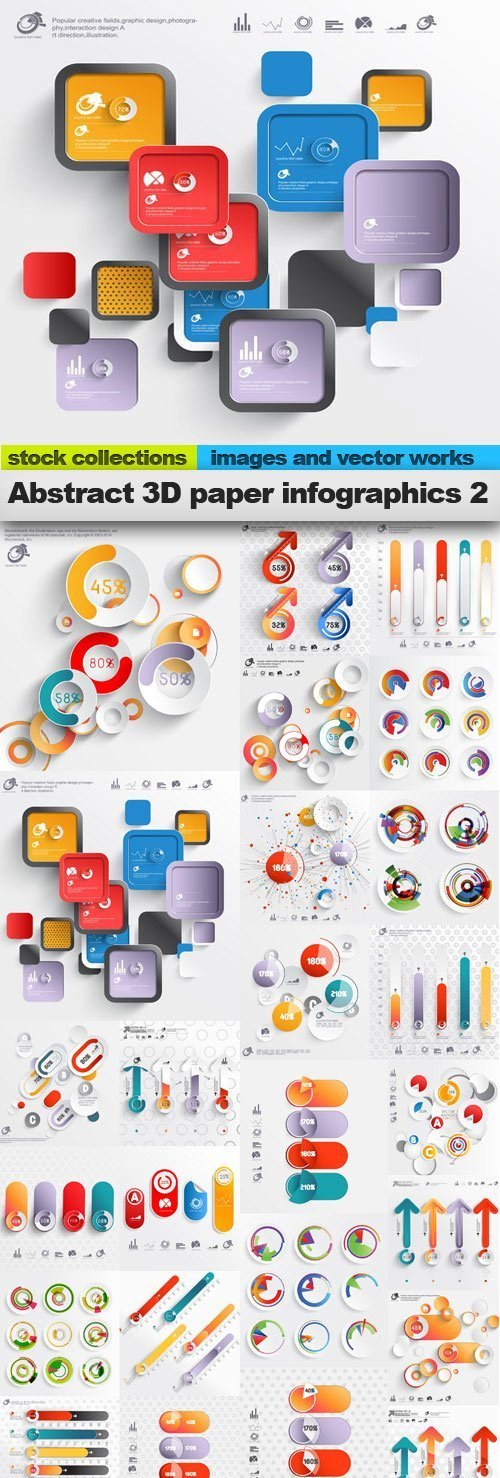 Abstract 3D Paper Infographics 2
