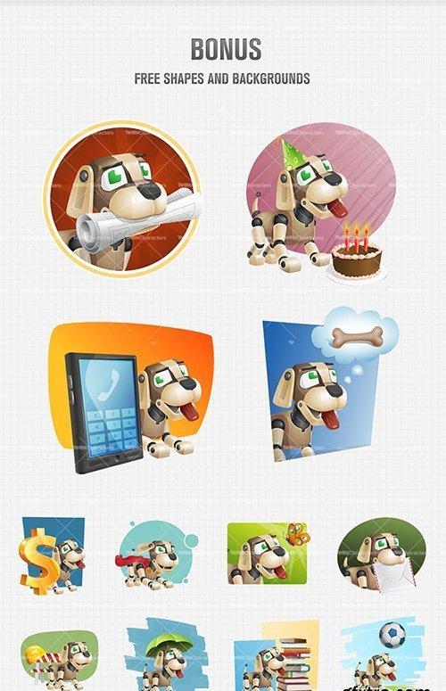 Dog Robot Cartoon Character