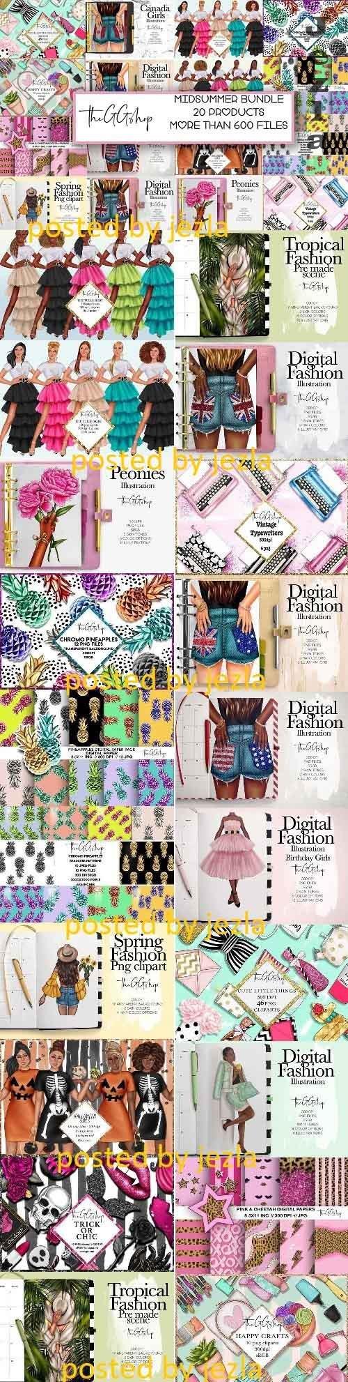 Midsummer Fashion Mega Bundle - 20 Premium Graphics - 5301678