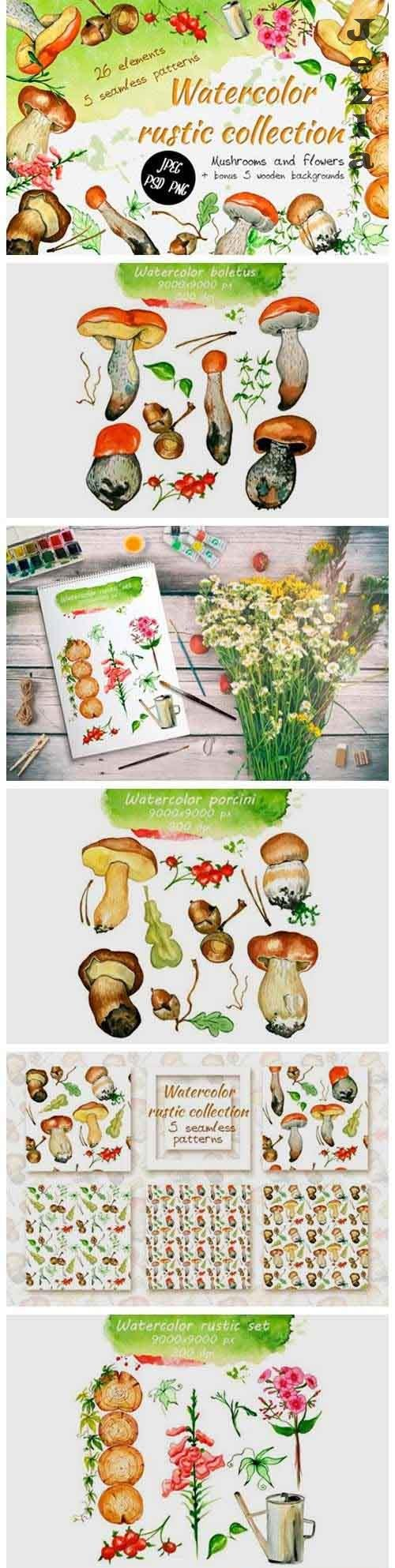 Watercolor rustic set with Mushrooms - 818188