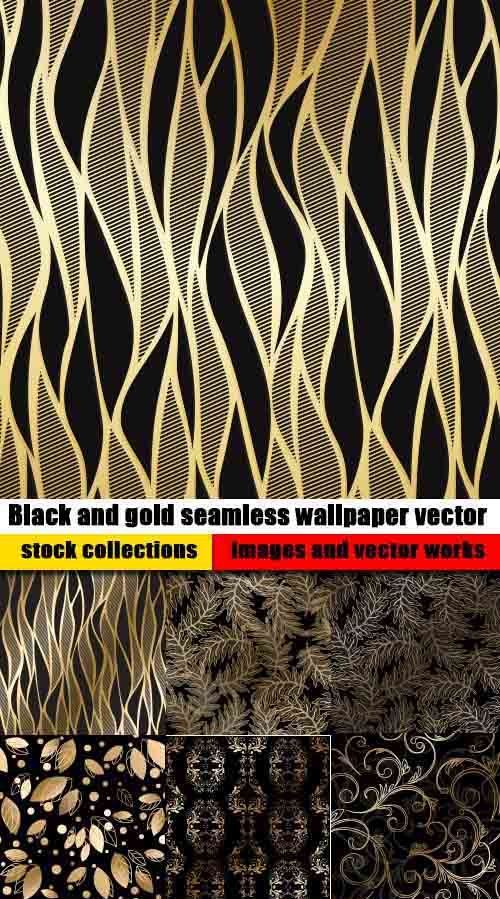 Black and gold seamless wallpaper vector 15 eps