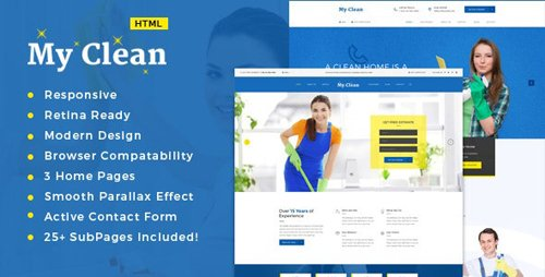 ThemeForest - MyClean v1.0 - Cleaning Company HTML5 Responsive Template - 16892218