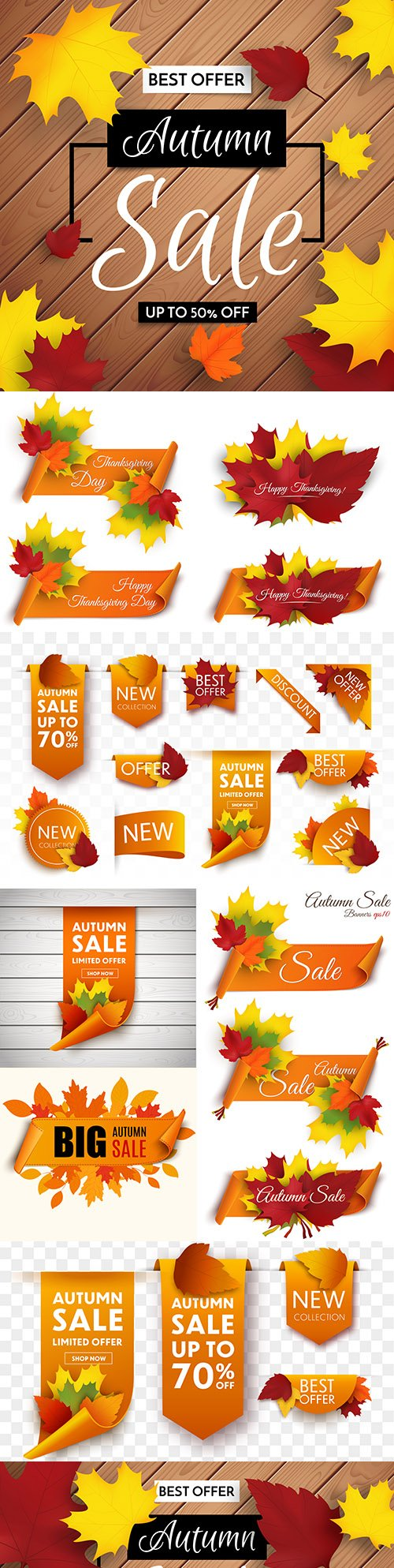 Autumn sale banner with shopping leaves or promotional poster