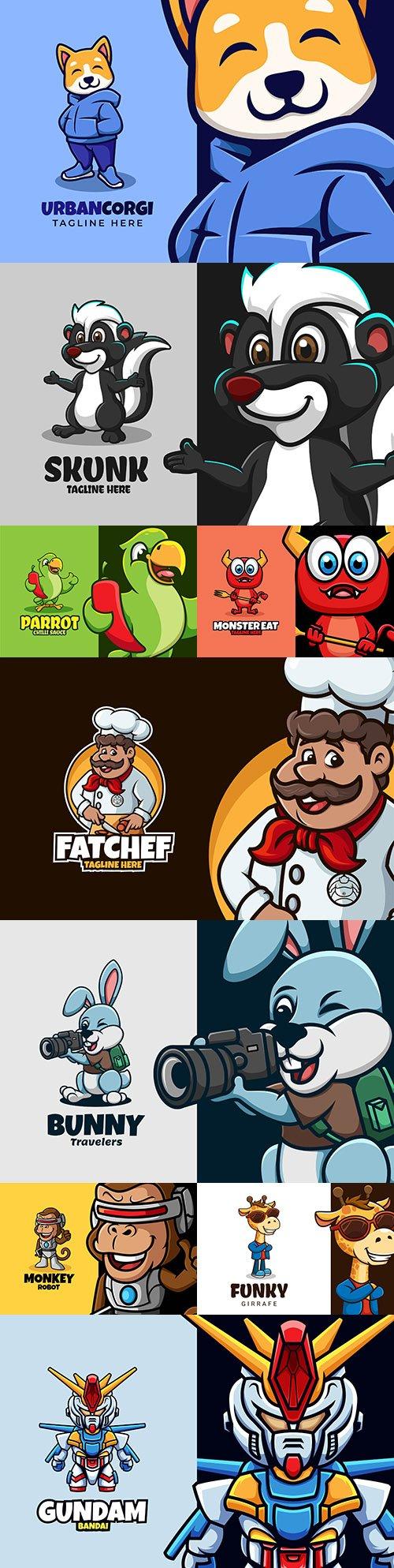 Emblem mascot and brand name logos design 9