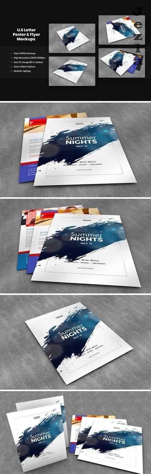 U.S Letter Poster & Flyer Mockups - 9V9L2W3