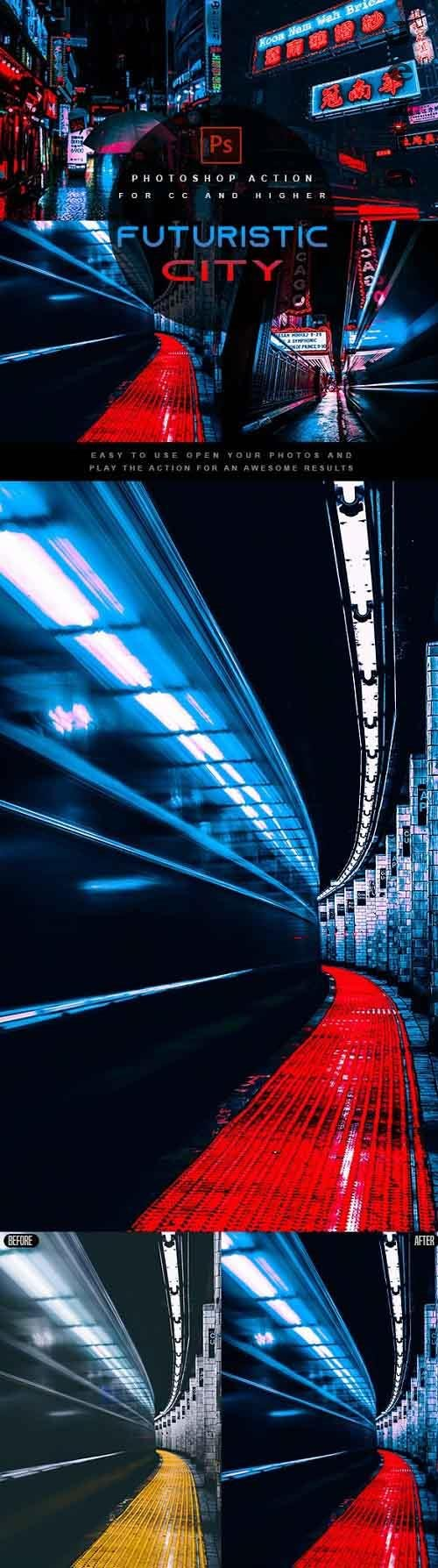 Futuristic City - Photoshop Action 27391328