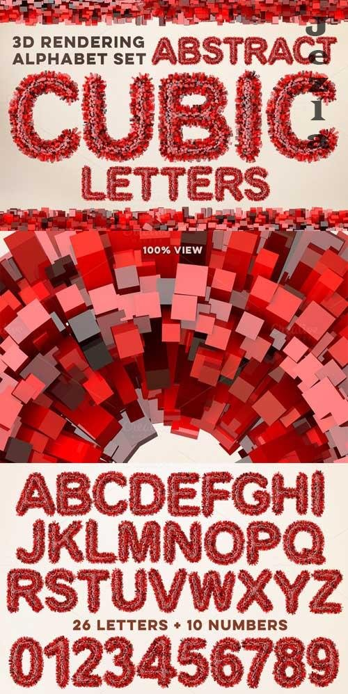 3D Cubic Red Letters Pack - 639332