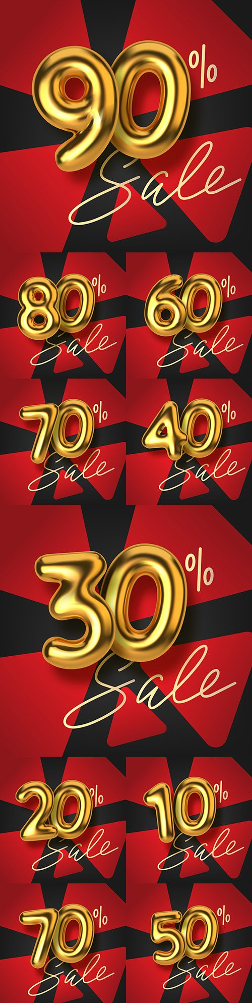 Promotion discount from realistic 3d gold text balloons