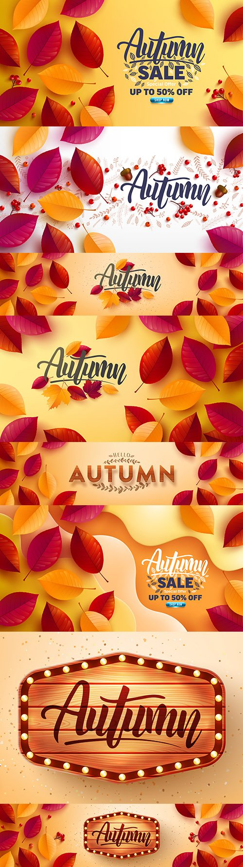 Autumn poster and banner with autumn multi-colored leaves