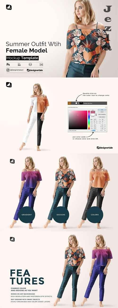 Female Summer Outfit Mockup 4971813