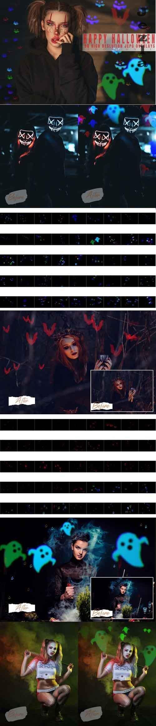 90 Happy Halloween Bokeh Overlays - 887618