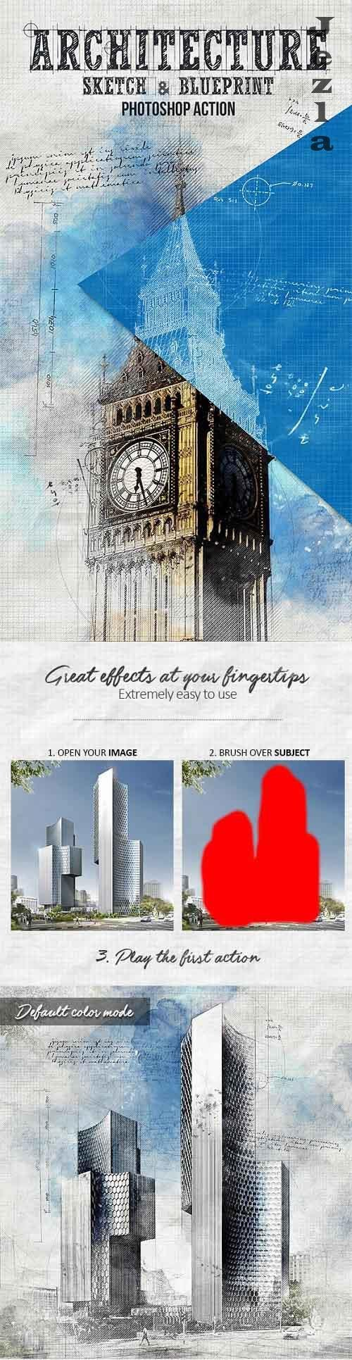 Architecture Sketch and Blueprint Photoshop Action 19872456