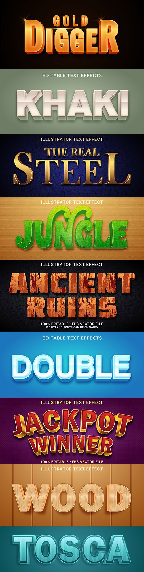 Editable font effect text collection illustration design 199