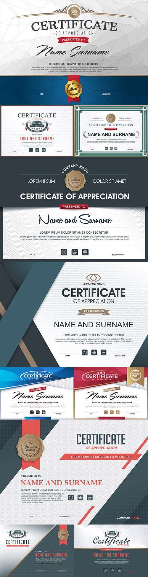 Luxury certificate of gratitude template award design
