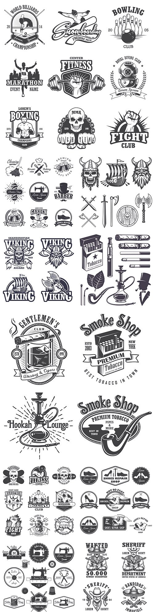 Antique emblems, labels, badges and logos monochrome style