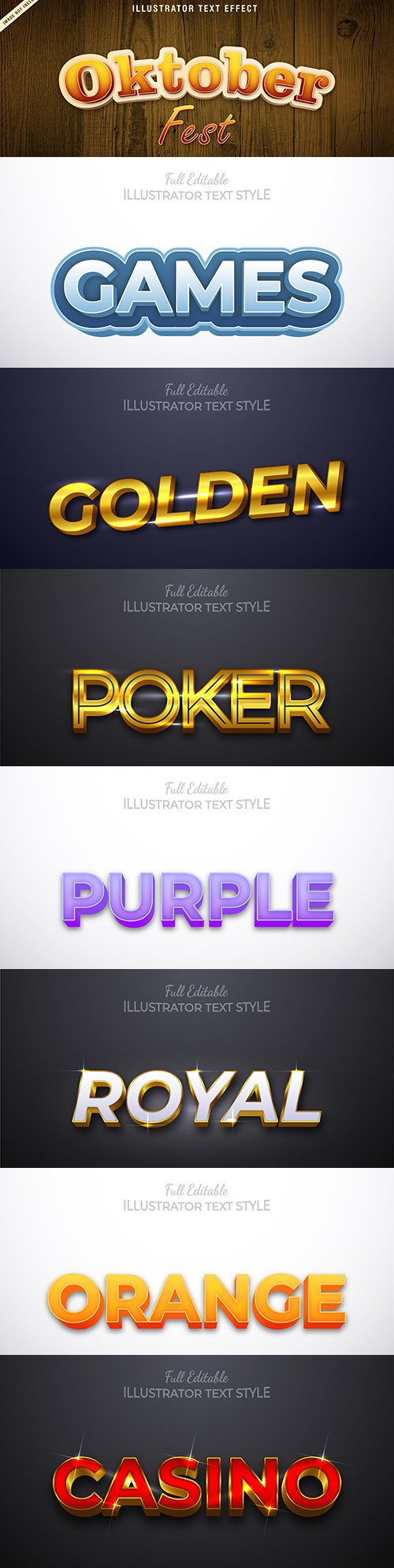 Editable font effect text collection illustration design 201