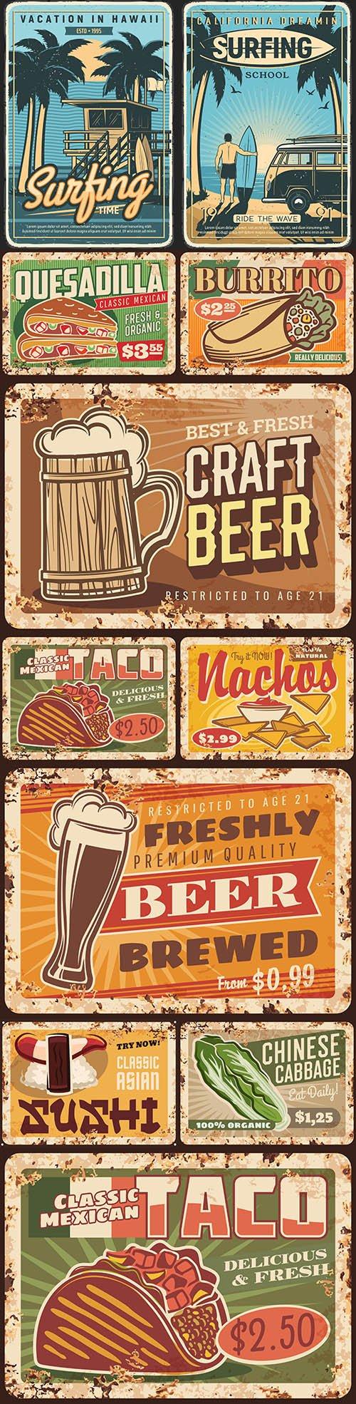 Rusty metal signage food menu restaurant vintage design