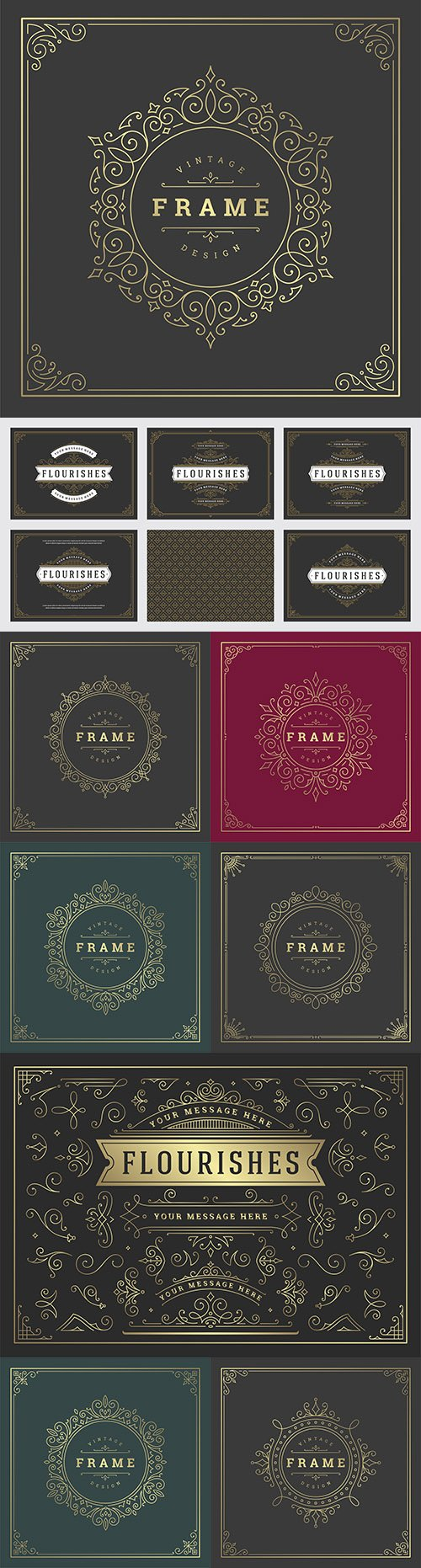 Vintage decorative ornament frame line design template