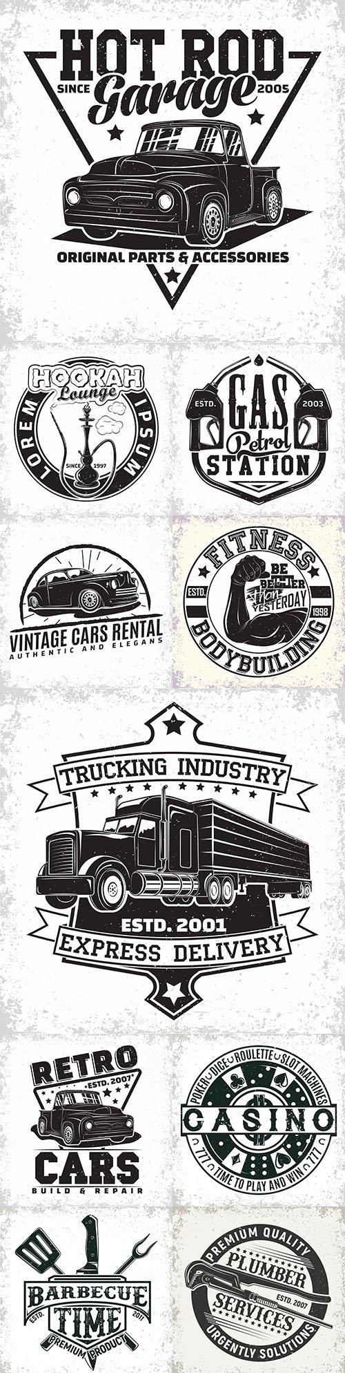 Vintage logo and emblem monochrome design