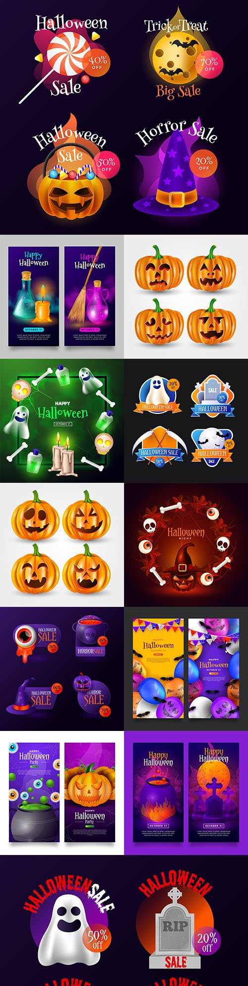 Halloween realistic collection selling badges and banner design
