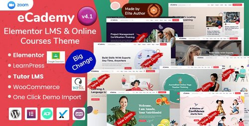 ThemeForest - eCademy v4.1 - Elementor LMS & Online Courses Education Theme - 26701069 - NULLED