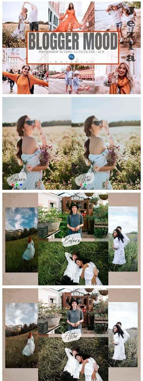 5 Blogger Mood Photoshop Actions ACR LUTs