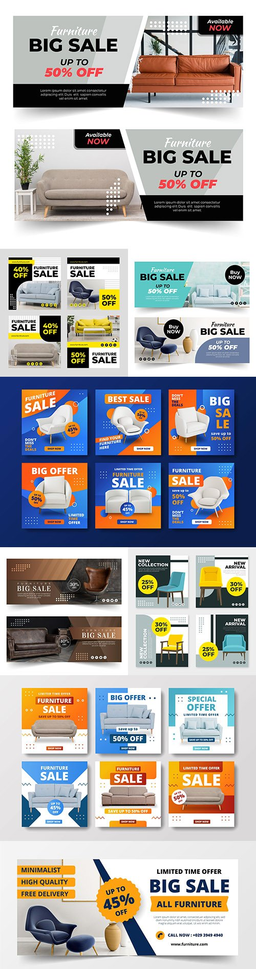Furniture sales banner design and instagram posts