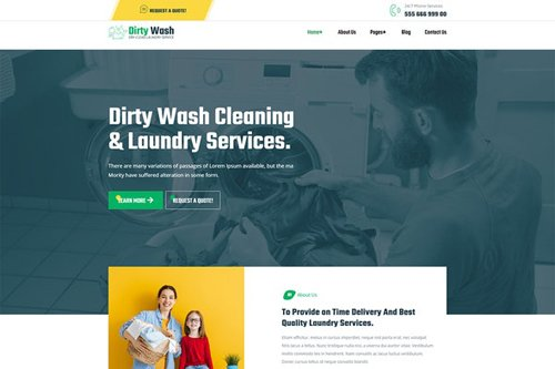ThemeForest - DirtyWash v1.0 - Dry Cleaning & Laundry Service Elementor Template Kit - 28580604