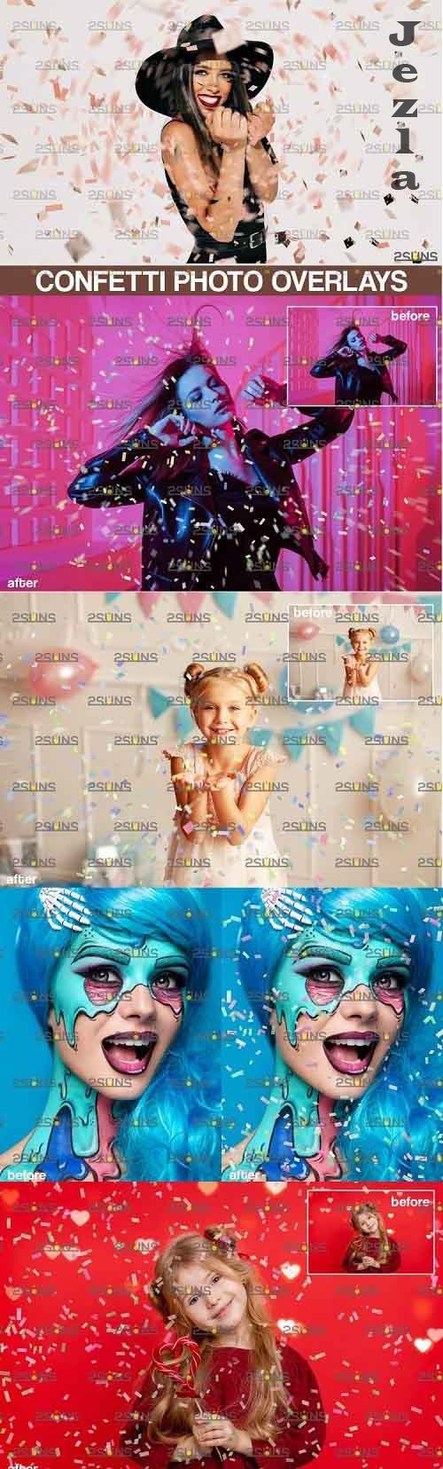 Confetti Photo overlays, Realistic falling Confetti, Png - 905705