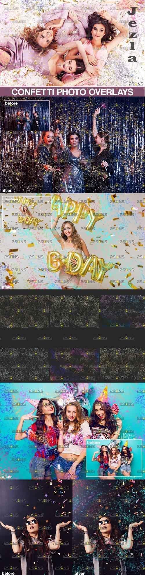 Confetti Photo overlays, Realistic falling Confetti, Png - 905702