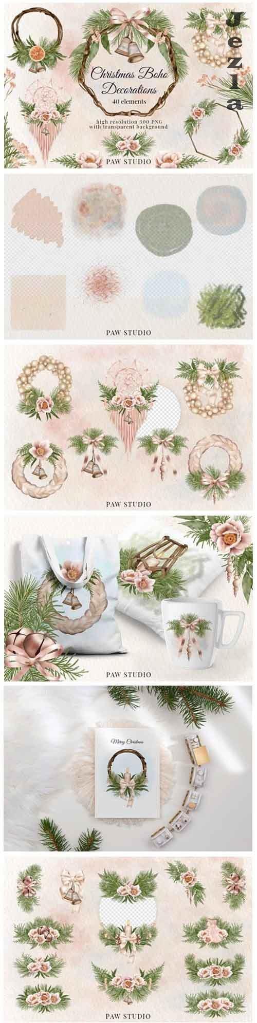 Christmas Boho Border Bouquet Wreath Winter Decorations - 906190