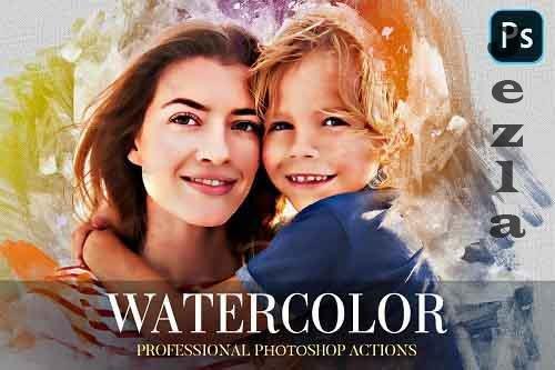 Watercolor Photoshop Action 4870553