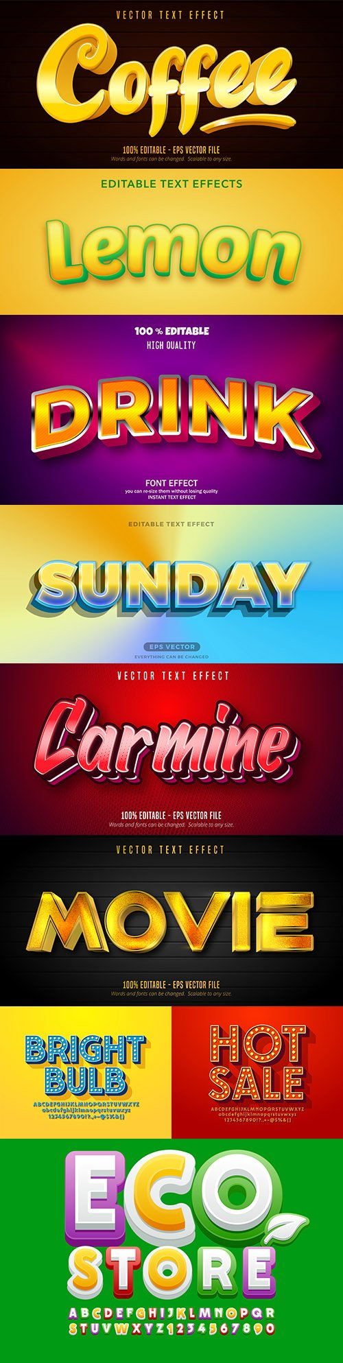 Editable font effect text collection illustration design 203