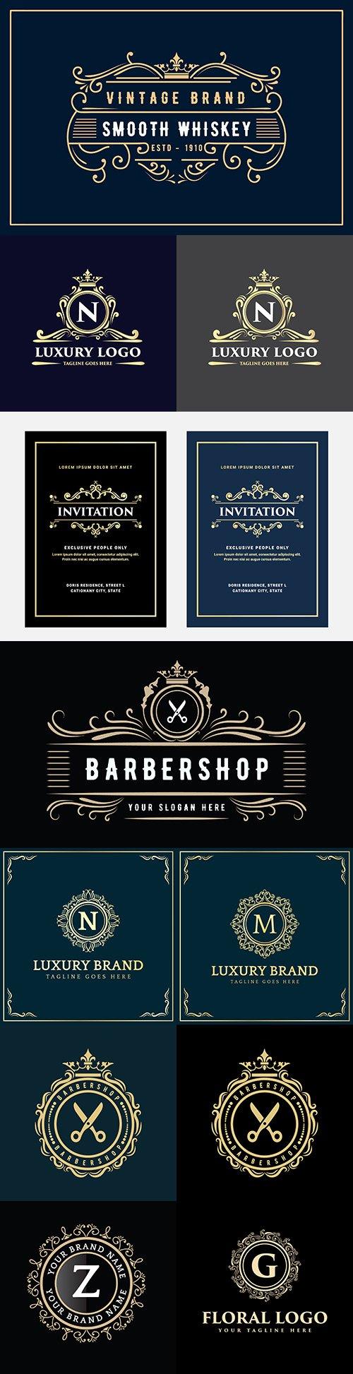 Vintage brand emblem decorative design dark background