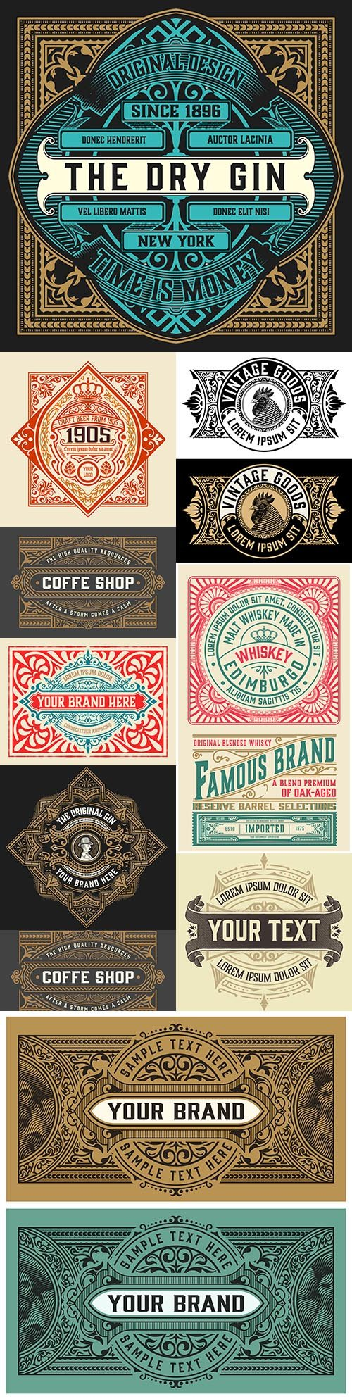 Vintage label whiskey with decorative elements
