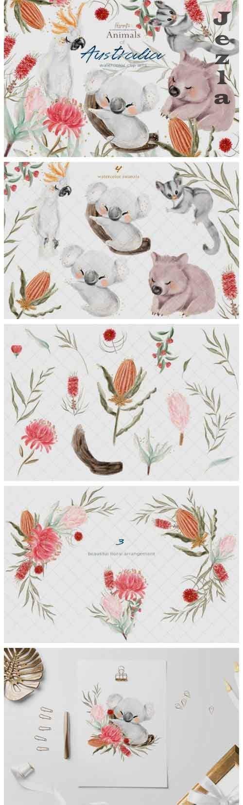 Watercolor Australian animals illustration - 905921
