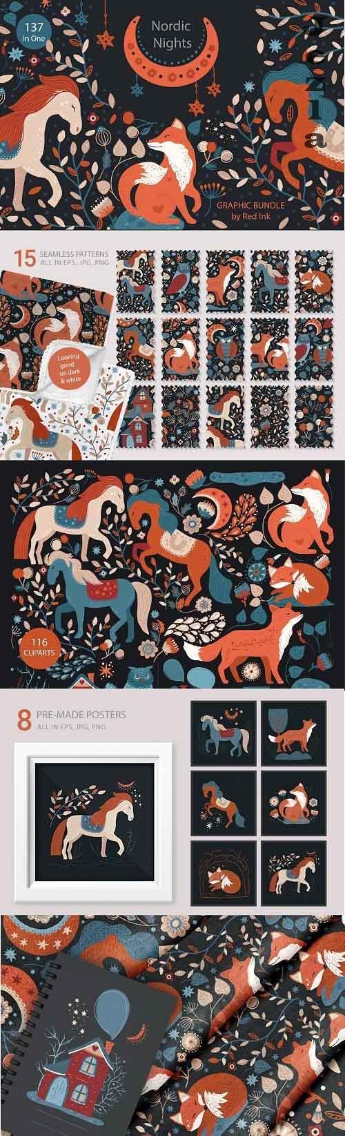 Nordic Nights. Boho Graphic Bundle - 5431648