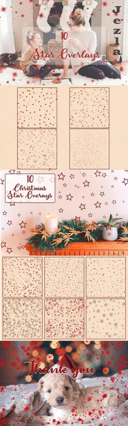 Christmas Star Photo Overlays | Red Metallic Star Overlays - 919767
