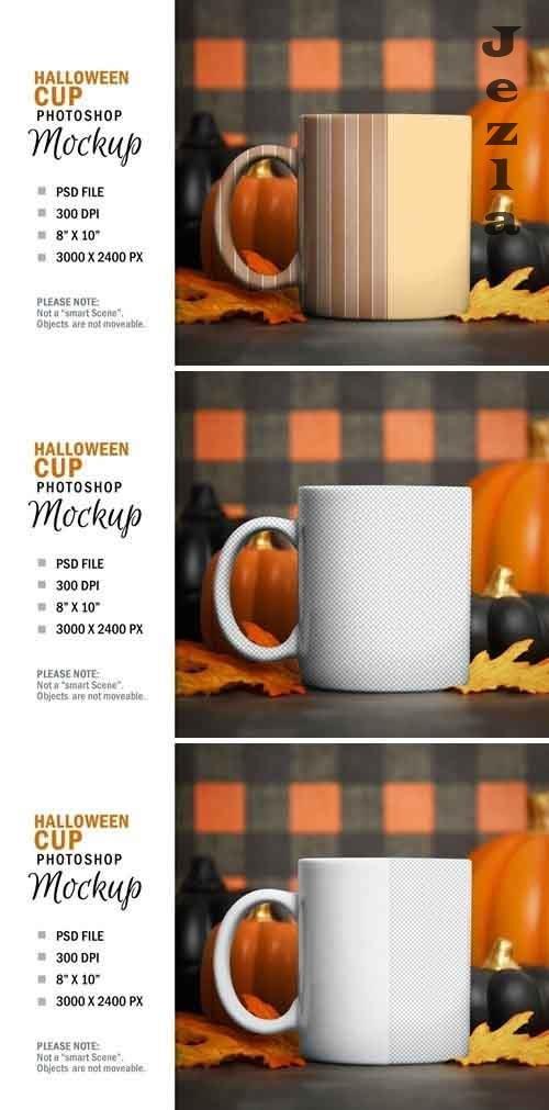 Halloween Coffee Glass Cup Mockup Smart Object
