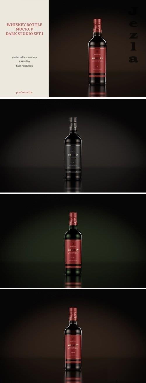 Whiskey Bottle Mockup - Dark Studio Set 1