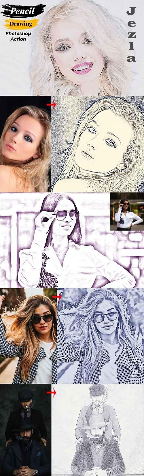 Pencil Drawing Photoshop Action 4888259