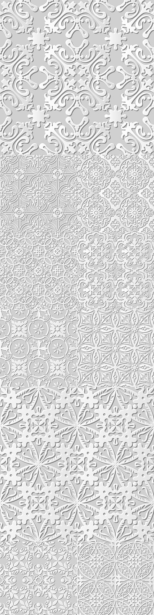 Damascus seamless 3d paper floral pattern