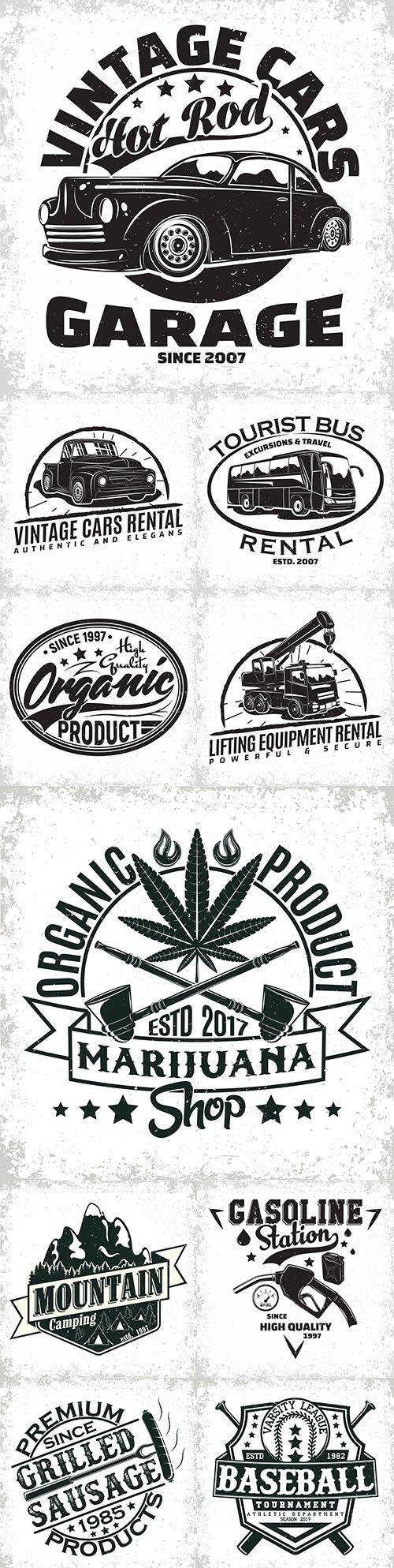 Vintage logo and grange printing emblem creative printing house