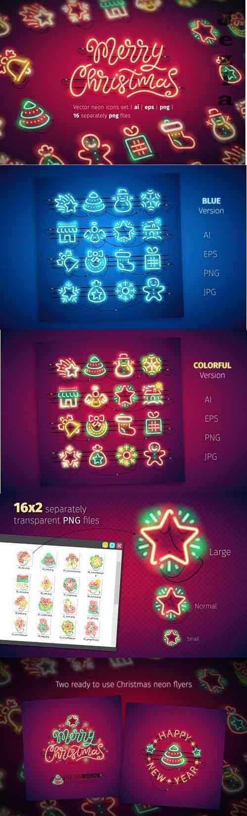 Christmas Colorful Neon Icons - 2031343