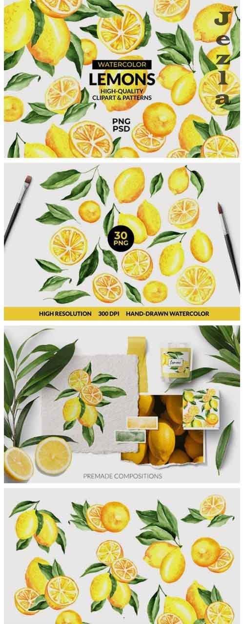 Lemon Watercolor Clipart & Patterns - 5438556
