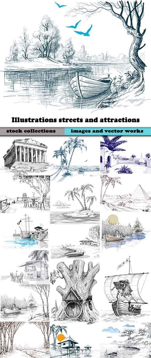Illustrations streets and attractions in vector from stock - 25 Eps